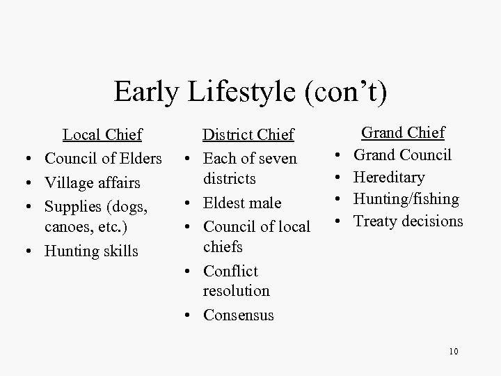 Early Lifestyle (con't) • • Local Chief Council of Elders Village affairs Supplies (dogs,