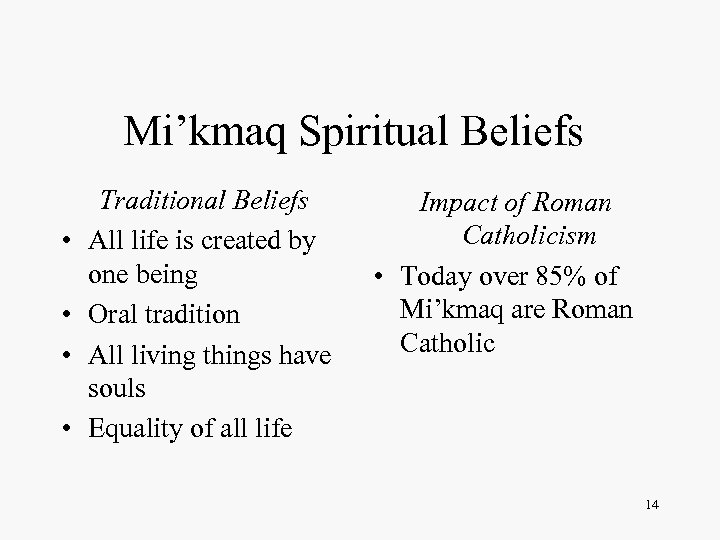 Mi'kmaq Spiritual Beliefs • • Traditional Beliefs All life is created by one being