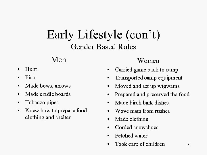 Early Lifestyle (con't) Gender Based Roles Men • • • Hunt Fish Made bows,