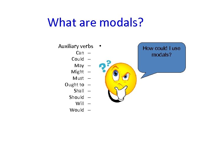 What are modals? Auxiliary verbs • Can Could May Might Must Ought to Shall