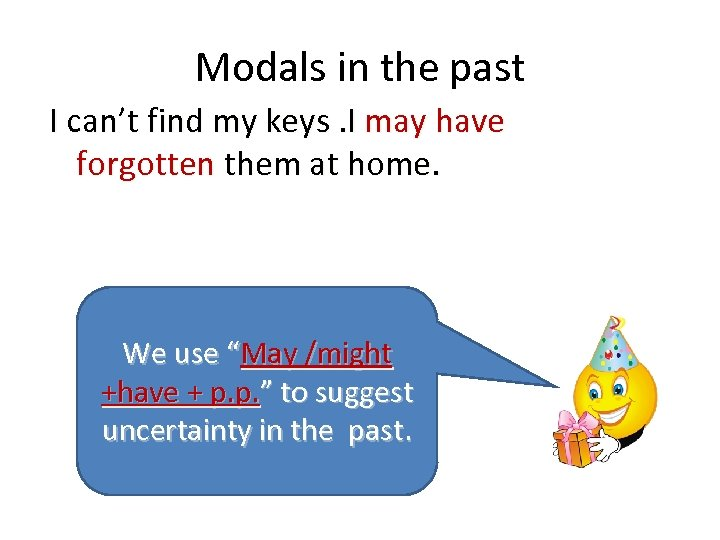 Modals in the past I can't find my keys. I may have forgotten them