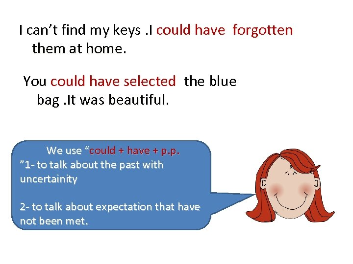 I can't find my keys. I could have forgotten them at home. You could