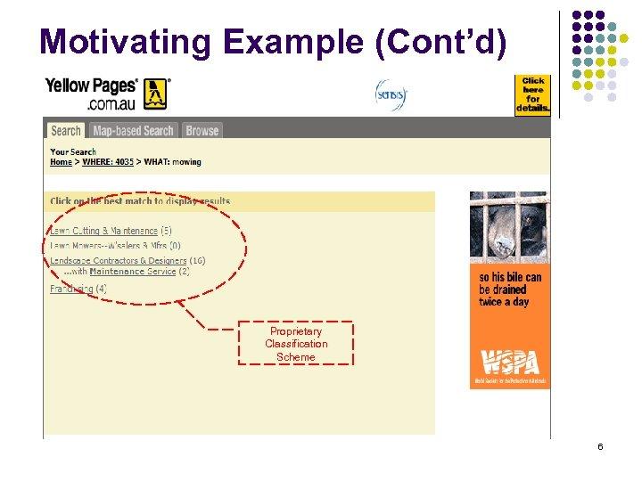 Motivating Example (Cont'd) Proprietary Classification Scheme 6