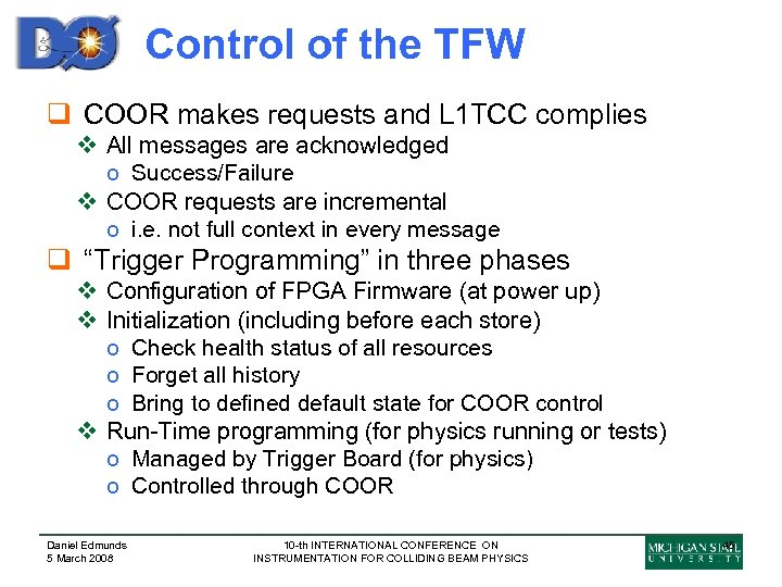 Control of the TFW q COOR makes requests and L 1 TCC complies v