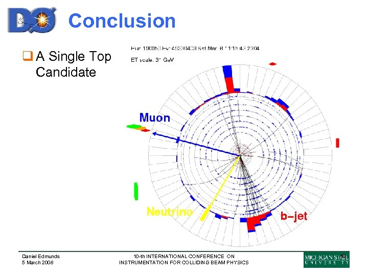 Conclusion q A Single Top Candidate Daniel Edmunds 5 March 2008 10 -th INTERNATIONAL