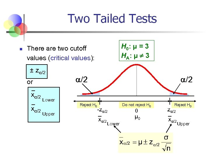Two Tailed Tests n H 0: μ = 3 H A: μ ¹ 3