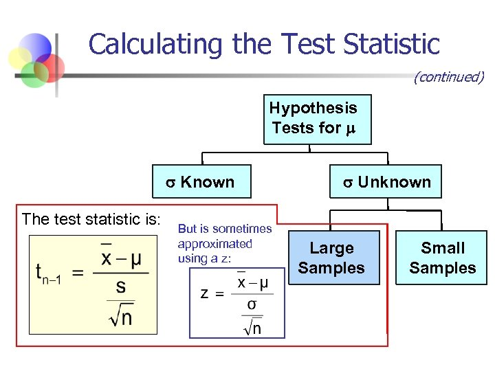 Calculating the Test Statistic (continued) Hypothesis Tests for Known The test statistic is: But