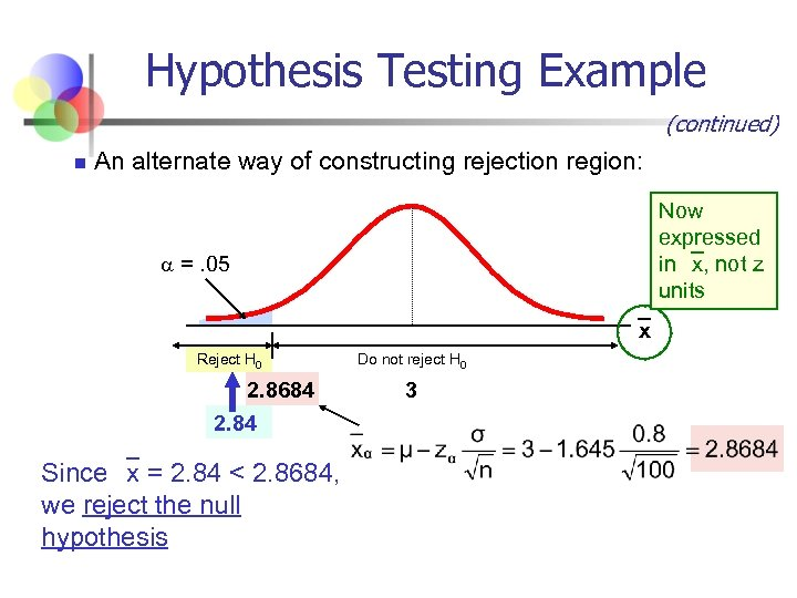 Hypothesis Testing Example (continued) n An alternate way of constructing rejection region: Now expressed
