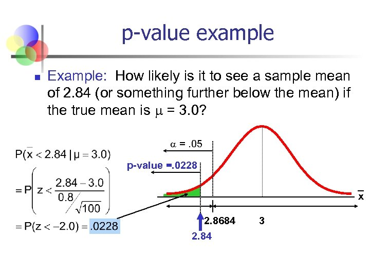 p-value example n Example: How likely is it to see a sample mean of