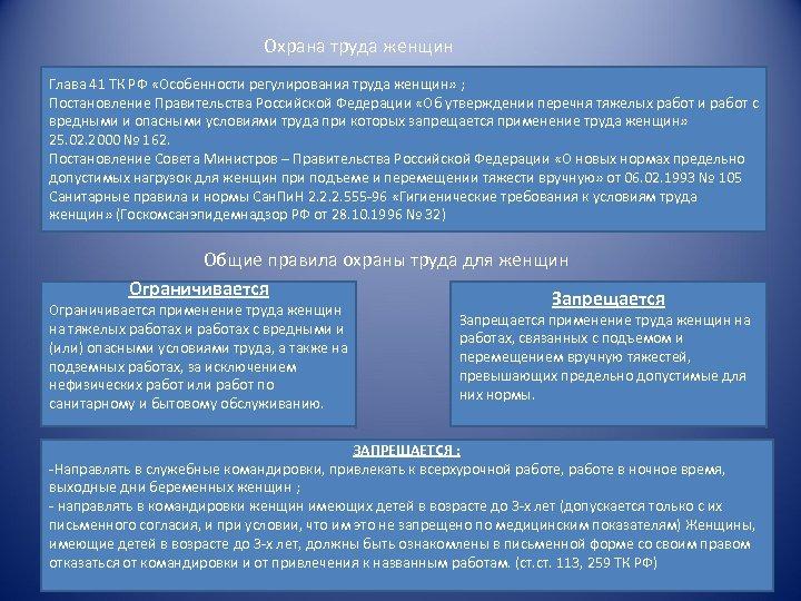 Охрана труда женщин Глава 41 ТК РФ «Особенности регулирования труда женщин» ; Постановление Правительства