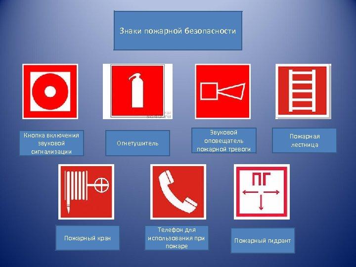 Знаки пожарной безопасности Кнопка включения звуковой сигнализации Пожарный кран Огнетушитель Звуковой оповещатель пожарной тревоги