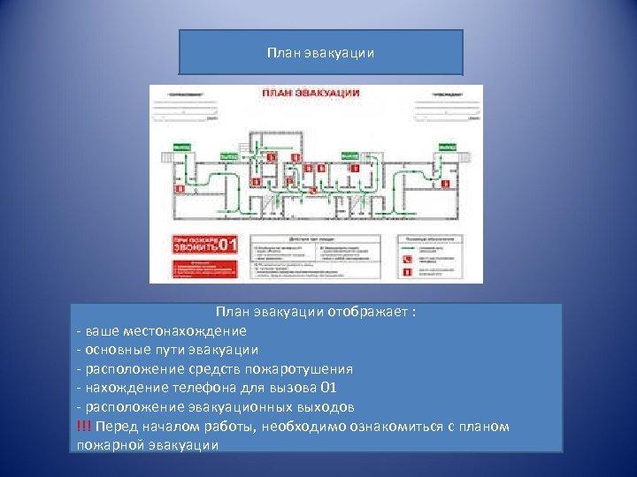 План эвакуации отображает : - ваше местонахождение - основные пути эвакуации - расположение средств