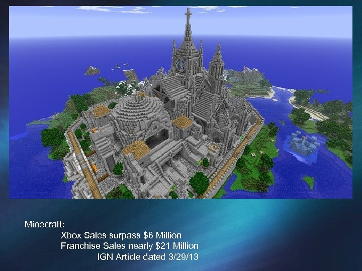 Minecraft: Xbox Sales surpass $6 Million Franchise Sales nearly $21 Million IGN Article dated