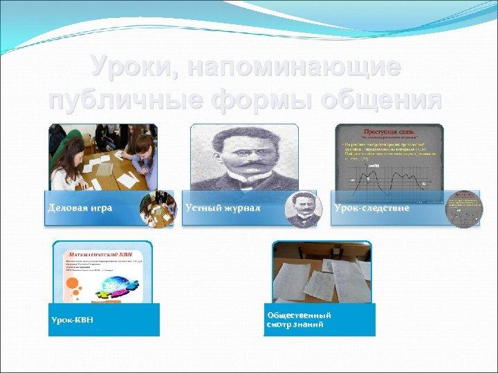 Уроки, напоминающие публичные формы общения Деловая игра Урок-КВН Устный журнал Урок-следствие Общественный смотр знаний