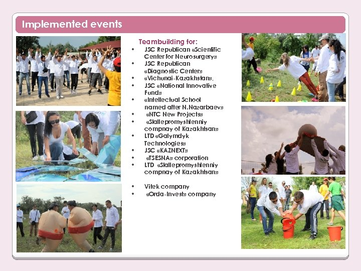 Implemented events • • • • Teambuilding for: JSC Republican «Scientific Center for Neurosurgery»