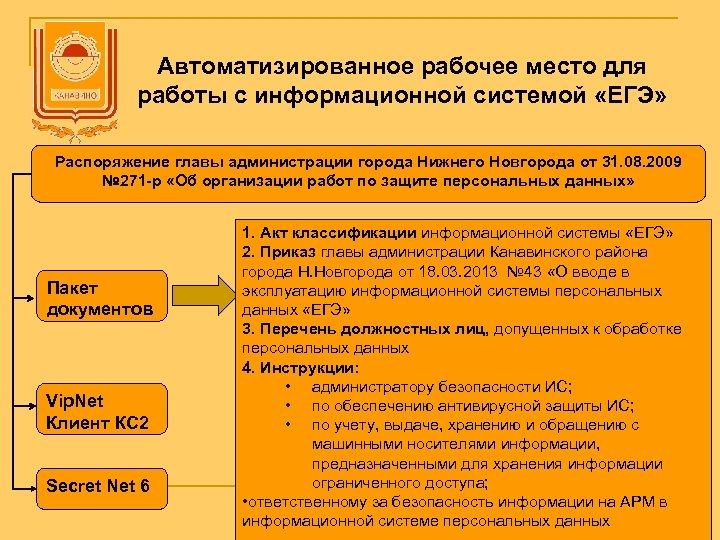 Автоматизированное рабочее место для работы с информационной системой «ЕГЭ» Распоряжение главы администрации города Нижнего