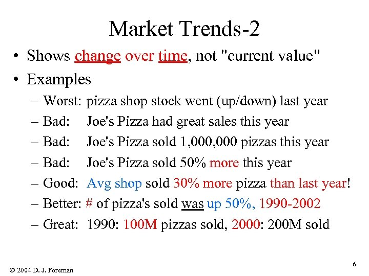 Market Trends-2 • Shows change over time, not