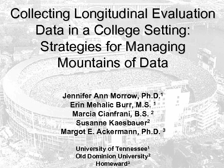 Collecting Longitudinal Evaluation Data in a College Setting: Strategies for Managing Mountains of Data