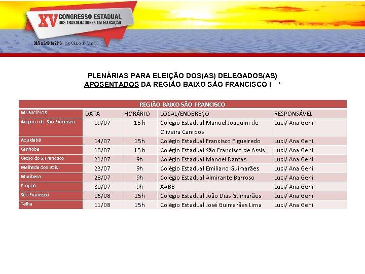 PLENÁRIAS PARA ELEIÇÃO DOS(AS) DELEGADOS(AS) APOSENTADOS DA REGIÃO BAIXO SÃO FRANCISCO I ' MUNICÍPIOS