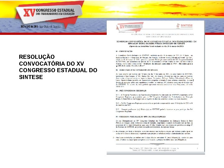 RESOLUÇÃO CONVOCATÓRIA DO XV CONGRESSO ESTADUAL DO SINTESE