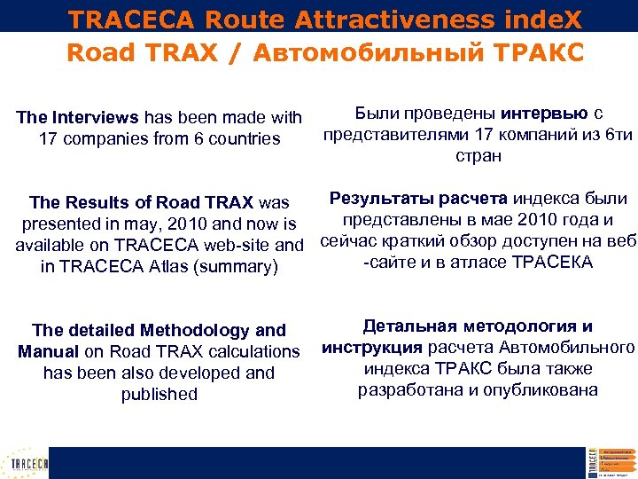 TRACECA Route Attractiveness inde. X Road TRAX / Автомобильный ТРАКС The Interviews has been