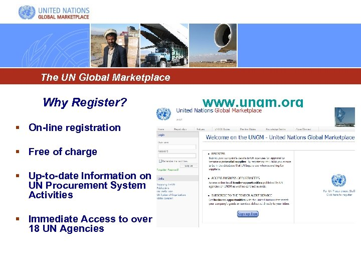 The UN Global Marketplace Why Register? § On-line registration § Free of charge §