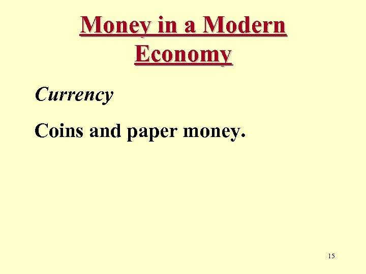 Money in a Modern Economy Currency Coins and paper money. 15