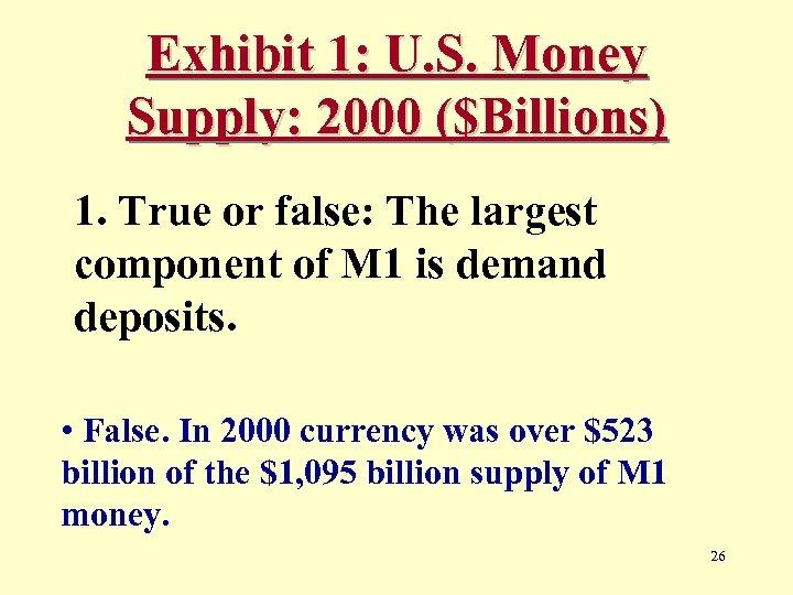 Exhibit 1: U. S. Money Supply: 2000 ($Billions) 1. True or false: The largest