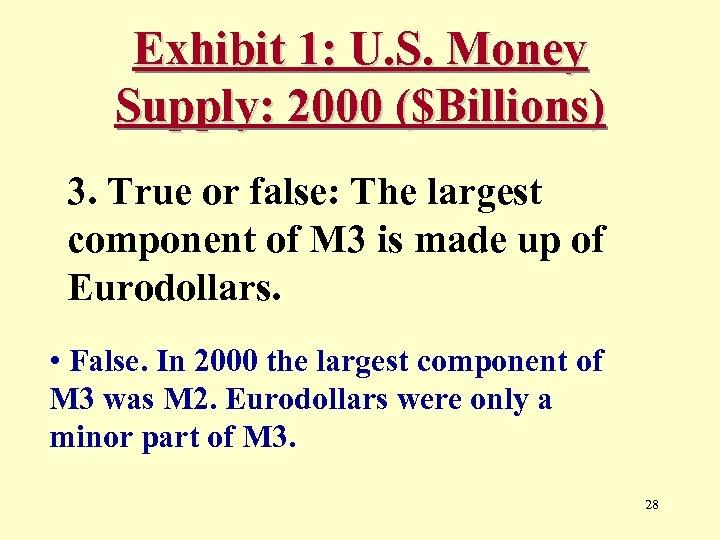 Exhibit 1: U. S. Money Supply: 2000 ($Billions) 3. True or false: The largest