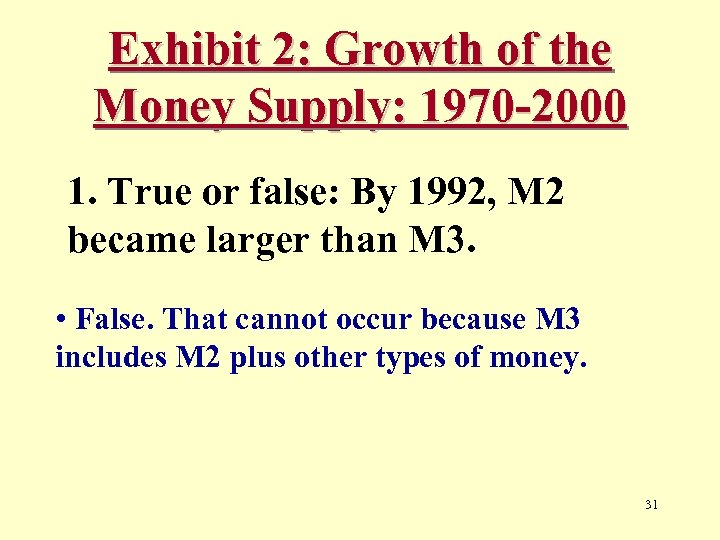 Exhibit 2: Growth of the Money Supply: 1970 -2000 1. True or false: By