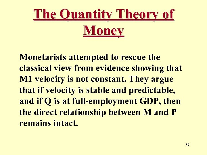 The Quantity Theory of Money Monetarists attempted to rescue the classical view from evidence