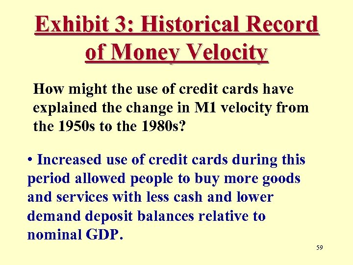 Exhibit 3: Historical Record of Money Velocity How might the use of credit cards
