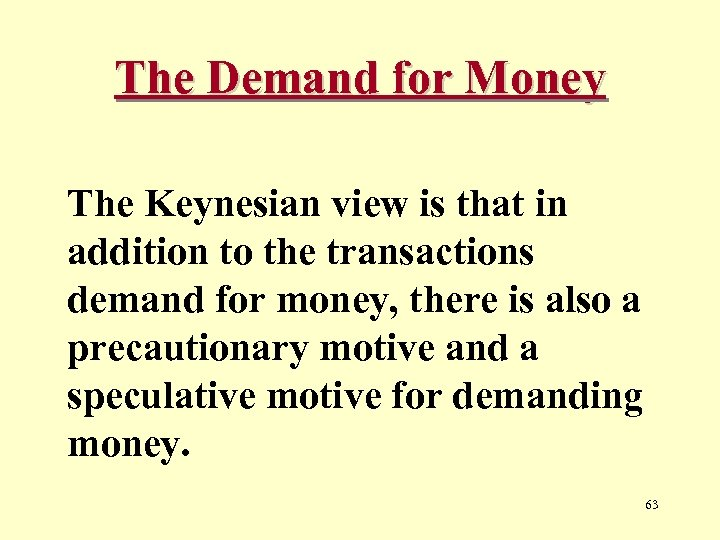 The Demand for Money The Keynesian view is that in addition to the transactions