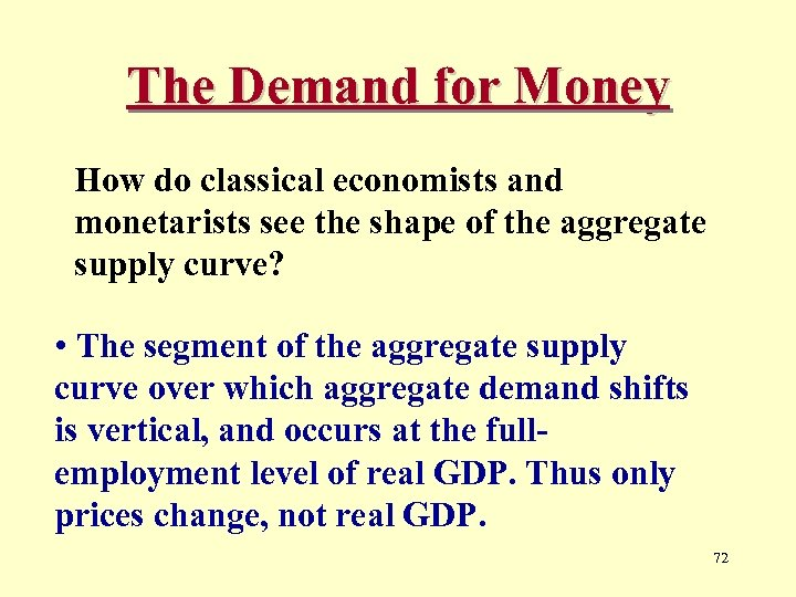 The Demand for Money How do classical economists and monetarists see the shape of
