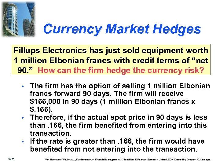 Currency Market Hedges Fillups Electronics has just sold equipment worth 1 million Elbonian francs