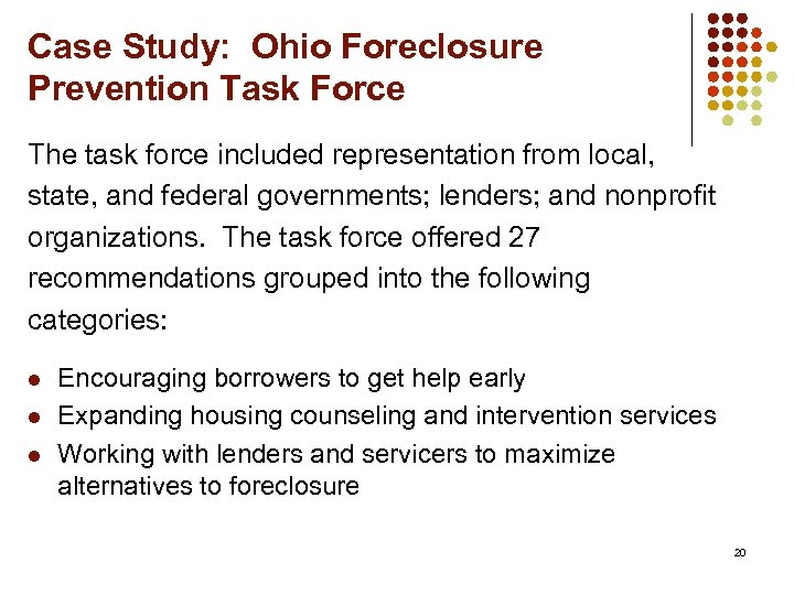 a report on the foreclosure crisis Cleveland's slavic village, often labeled as the starting point of america's foreclosure crisis, is now in the crosshairs for a revitalization.