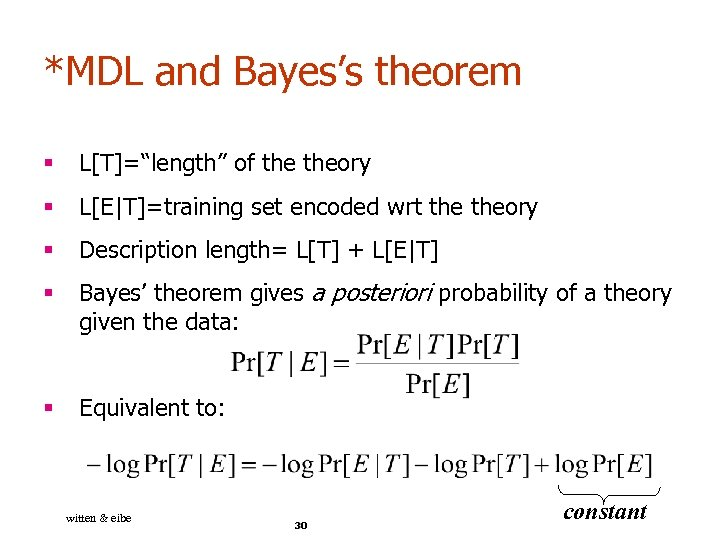 """*MDL and Bayes's theorem § L[T]=""""length"""" of theory § L[E
