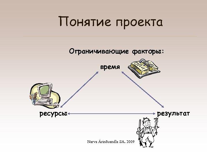 Понятие проекта Ограничивающие факторы: время ресурсы результат Narva Ärinõuandla SA. 2009