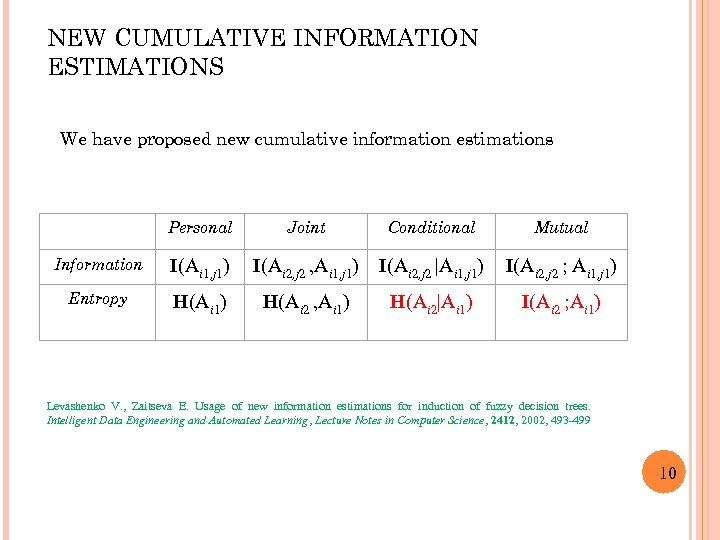 NEW CUMULATIVE INFORMATION ESTIMATIONS We have proposed new cumulative information estimations Personal Joint Conditional