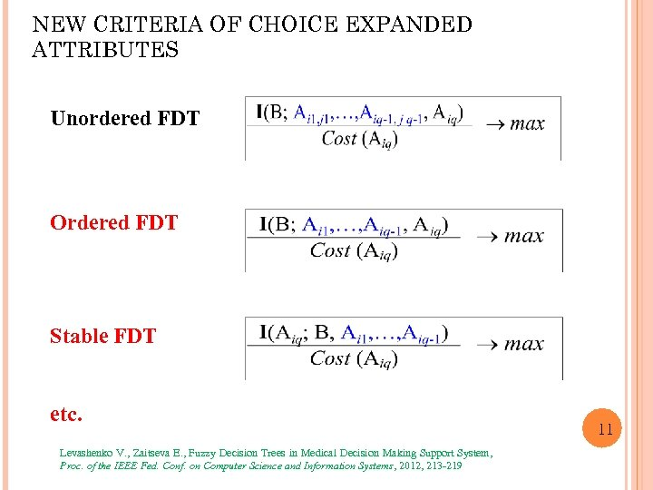 NEW CRITERIA OF CHOICE EXPANDED ATTRIBUTES Unordered FDT Ordered FDT Stable FDT etc. Levashenko
