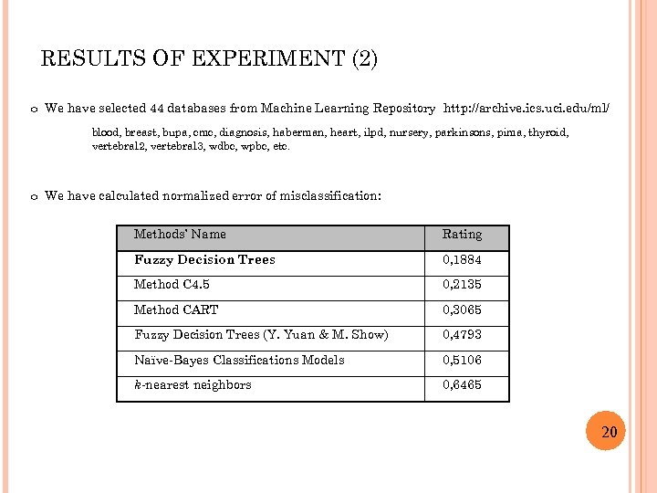 RESULTS OF EXPERIMENT (2) o We have selected 44 databases from Machine Learning Repository