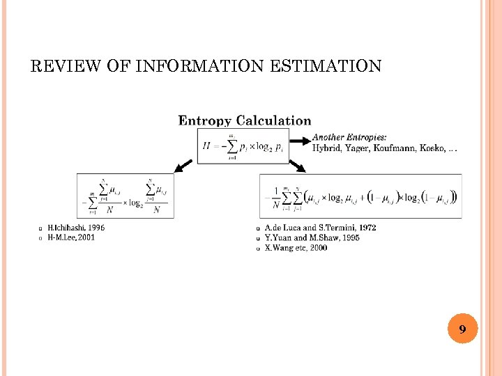 REVIEW OF INFORMATION ESTIMATION 9