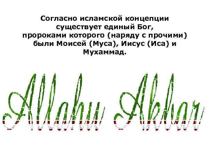 Согласно исламской концепции существует единый Бог, пророками которого (наряду с прочими) были Моисей (Муса),