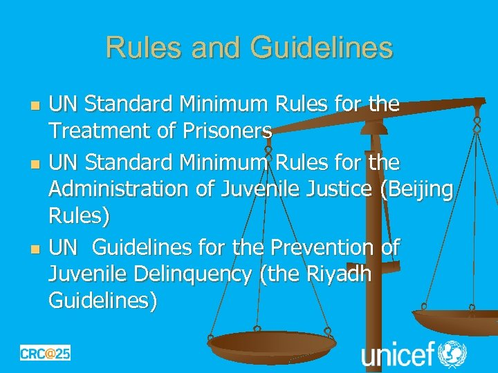 Rules and Guidelines n n n UN Standard Minimum Rules for the Treatment of