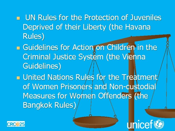 n n n UN Rules for the Protection of Juveniles Deprived of their Liberty