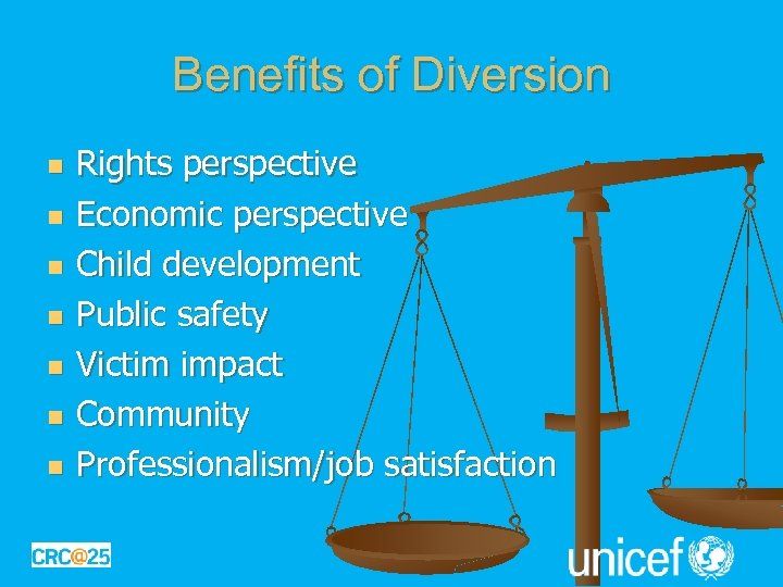Benefits of Diversion n n n Rights perspective Economic perspective Child development Public safety