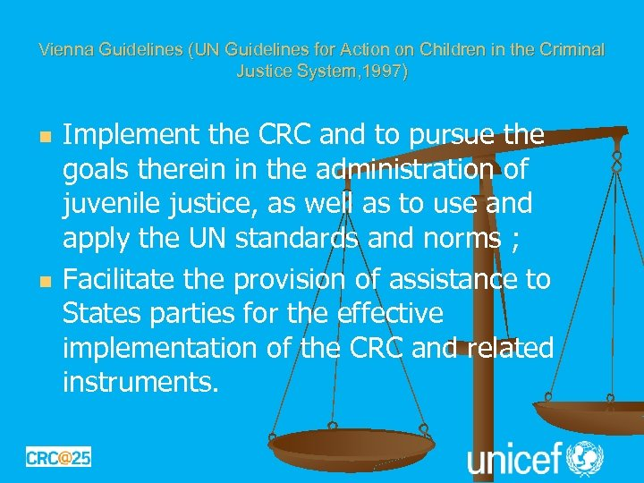 Vienna Guidelines (UN Guidelines for Action on Children in the Criminal Justice System, 1997)