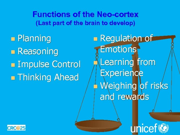 Functions of the Neo-cortex (Last part of the brain to develop) Planning n Reasoning