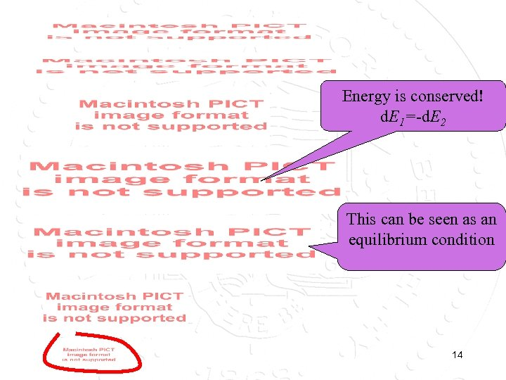 Energy is conserved! d. E 1=-d. E 2 This can be seen as an