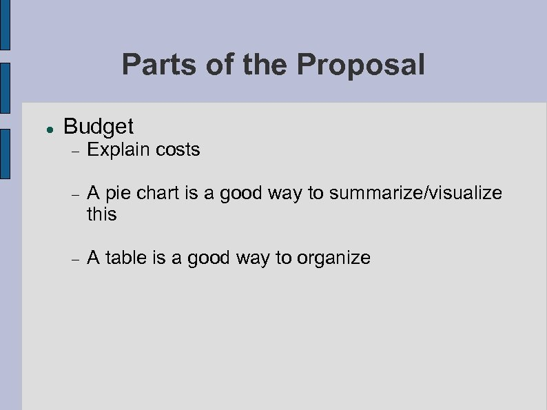 Parts of the Proposal Budget Explain costs A pie chart is a good way